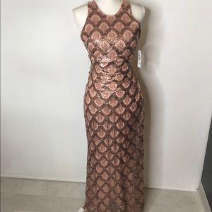 Morgan & Co Dress Sz 5 / 6 Rose Gold Sequin NWT